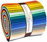Kaufman-Roll-Up-5in-Roll-x-WOF-Squares-Kona-Solids-Designer-Make-it-Simpler-32pcs