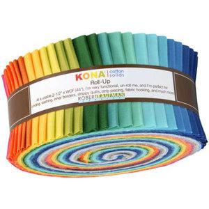 Kaufman Roll Up Kona Solids Summer Colorway 40pcs
