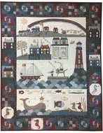 Seaside Town With Raw Edged Buttons - Lynette Anderson