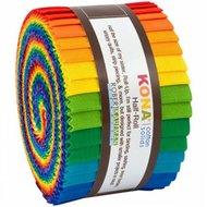 2-1/2in Strips Kona Solids Bright Rainbow Palette 24st/bundle